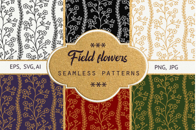 Field flowers. Seamless patterns
