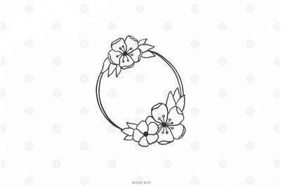 Wildflower wreath svg cut file