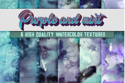6 Purple and Mint Watercolor Textures, HQ Digital Papers