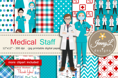 Medical Staff Digital Papers and Clipart