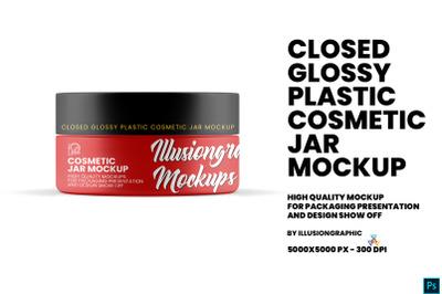 Closed Glossy Plastic Cosmetic Jar Mockup