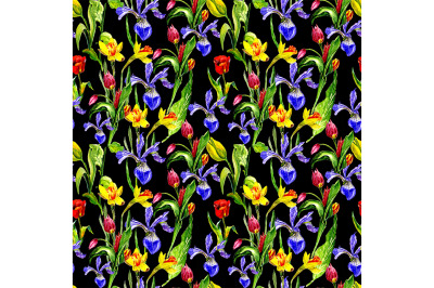 Seamless pattern with spring flowers on a black background.