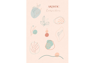 Floral Abstract Collection of line drawing leaves illustrations.