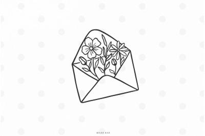 Wildflowers envelope svg cut file