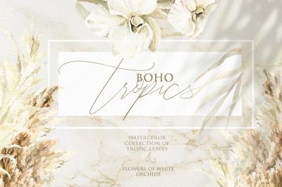 Boho and tropics. Watercolor collection.