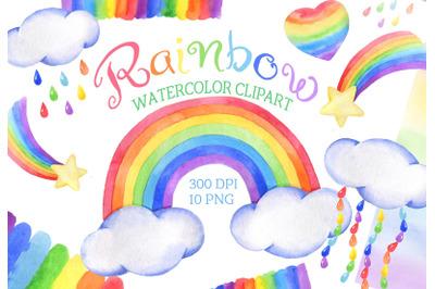 Watercolor rainbow clipart cloud rain baby shower png