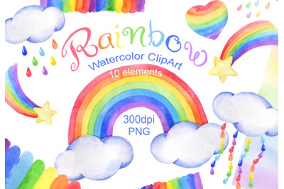 Watercolor rainbow clipart cloud rain baby shower png
