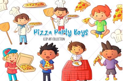 Pizza Party Boys Clip Art Collection