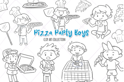Pizza Party Boys Digital Stamps