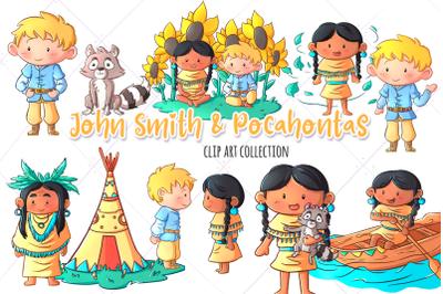 John Smith & Pocahontas Clip Art Collection