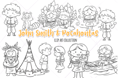 John Smith & Pocahontas Digital Stamps