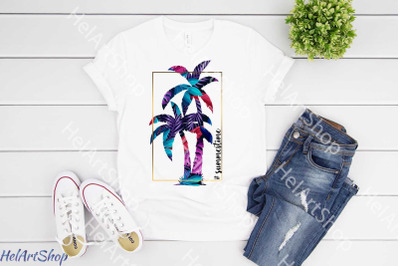 Summertime Sublimation png, Palm png, Summer png