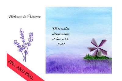 Lavender field painting for travel book cover or brochure