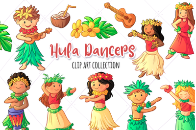 Hula Dancers Clip Art Collection