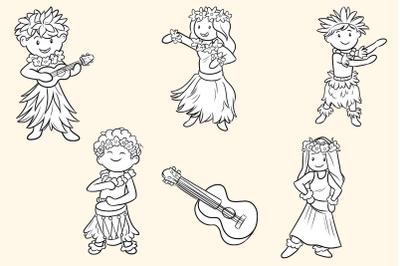 Hula Dancers Digital Stamps