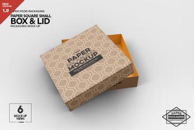 Small Square Paper Box&Lid Mockup