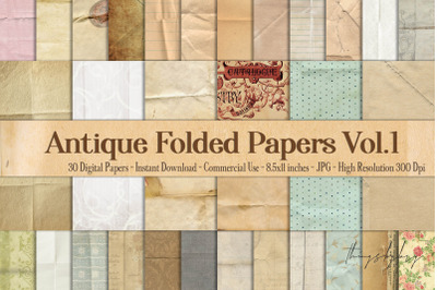 30 Folded Crumpled Antique Vintage Old Digital Papers 8.5x11