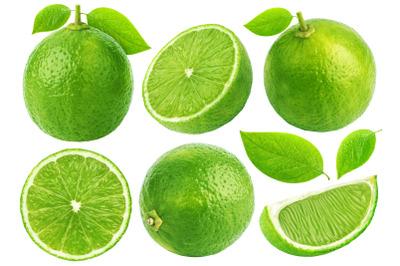 Lime fruit isolated on white background