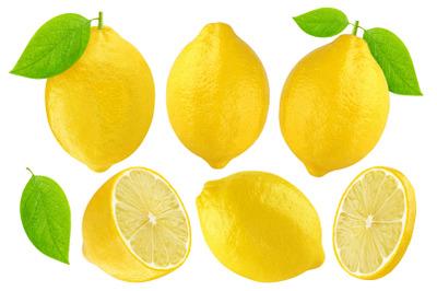 Lemon fruits isolated white background