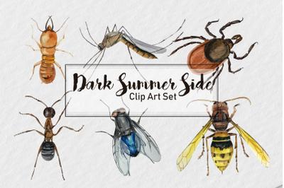 Dark Summer Side Clip Art Set