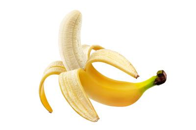 Peeled open banana isolated on white background