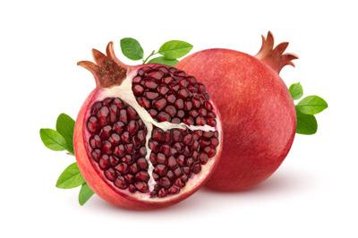 Pomegranate fruit isolated on white background