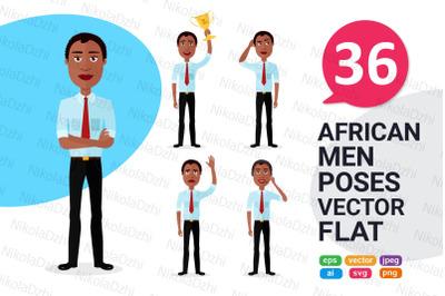 African men Character Cartoon vector