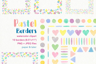 Watercolor Pastel Rainbow Borders