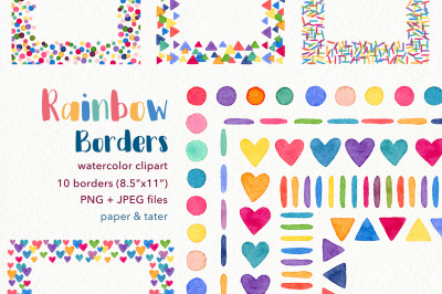 Watercolor Rainbow Borders