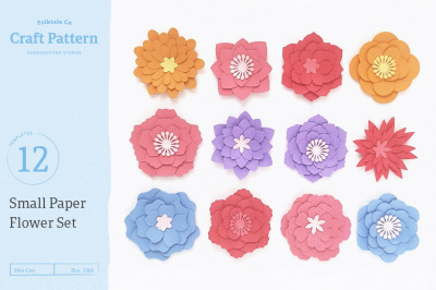 Small Flower Templates, 3D Flowers - SVG, DXF, EPS, JPEG, PDF