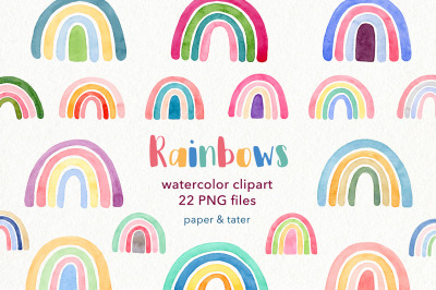 Watercolor Rainbows Clipart Graphics