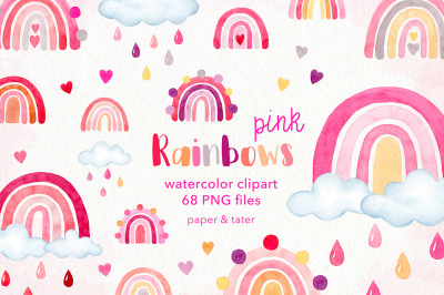 Watercolor Pink Rainbows Clipart Graphics