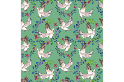 Spring seamless pattern with doves on a turquoise background.