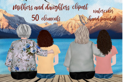 Mother and daughter, Granny clipart, Best friends back view