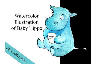 Hippo Baby isolated illustration, cartoon character holding bucket