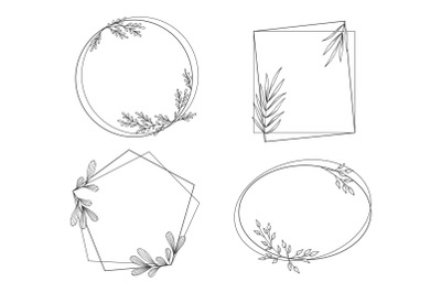 Floral Frames in Outline Style