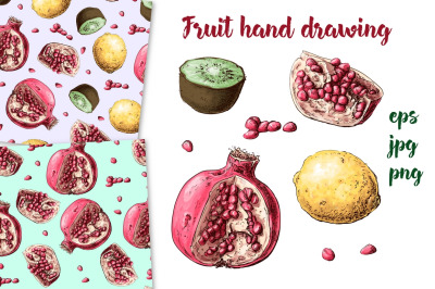 Fruit hand drawing
