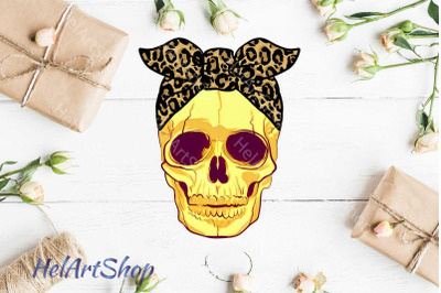 Skull with Bandana png, Sublimation png , Leopard Print