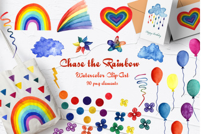 Chase the Rainbow Watercolor Clip Art. 600dpi