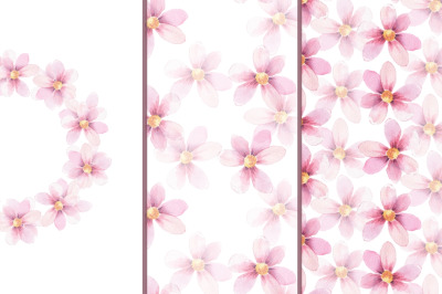 Delicate floral set 1. Watercolor wreath and patterns