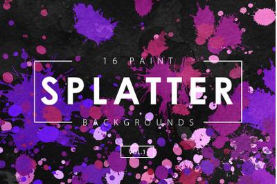 Paint Splatter Backgrounds Vol. 1