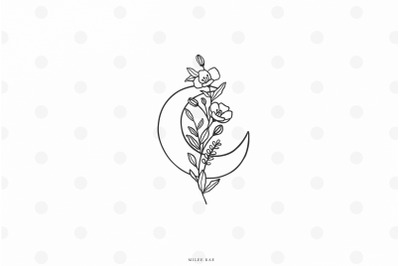Moon with flowers svg cut file