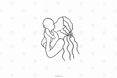Mother and baby svg cut file
