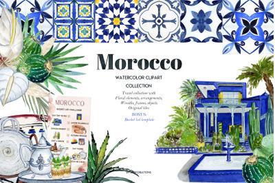 Morocco. Travel clipart l. Watercolor tiles.