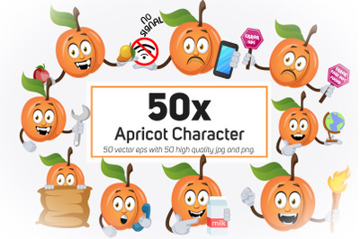 50x Apricot Character and Mascot Collection illustration.
