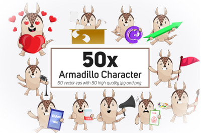 50x Armadillo Character and Mascot Collection illustration.