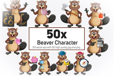 50x Beaver Character and Mascot Collection illustration.