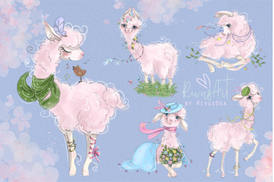 Llama PNG Clipart. Spring Alpaca graphics, printable painting. Cute ba