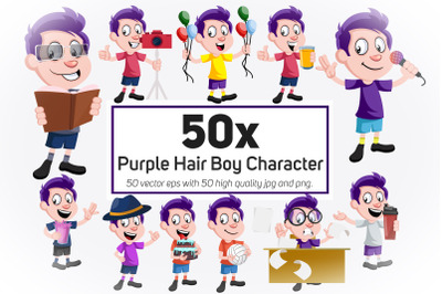 50x Purple Hair Boy Character and Daily Life action collection illustr