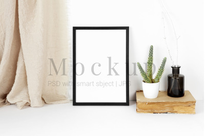 Photo Frame With Black Vase